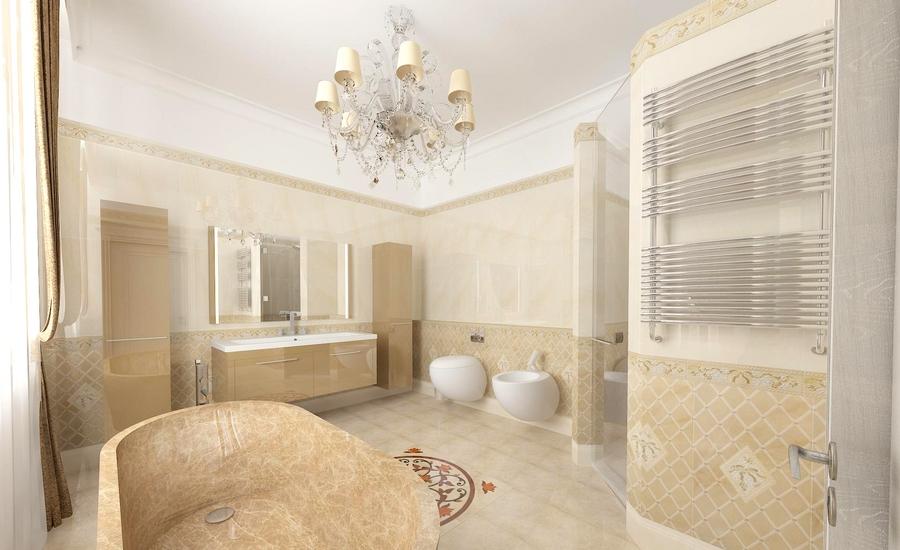 Дизайн ванной в кремовых тонах